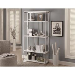 Buy Monarch Specialties 72 Inch Bookcase in Glossy White on sale online