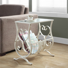 Buy Monarch Specialties Antique White Metal 19x12 Magazine Table w/ Tempered Glass on sale online