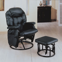 Buy Monarch Specialties Black & Metal Swivel Rocker Recliner w/ Ottoman on sale online