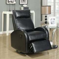 Buy Monarch Specialties Black Bonded Leather Swivel Rocker Recliner on sale online