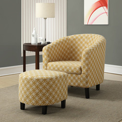 Buy Monarch Specialties Burnt Yellow Circular Fabric Accent Chair & Ottoman on sale online