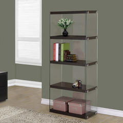 Buy Monarch Specialties Cappuccino Hollow-Core & Tempered Glass 24 Inch Bookcase on sale online