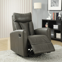 Buy Monarch Specialties Charcoal Grey Bonded Leather Swivel Glider Recliner on sale online