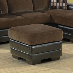 Buy Monarch Specialties Chocolate & Dark Brown Leather Look Ottoman on sale online
