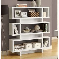 Buy Monarch Specialties Contemporary 55 Inch Hollow-Core Bookcase in White on sale online