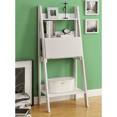 Buy Monarch Specialties Contemporary 61 Inch Ladder Bookcase w/ a Drop-Down Desk in White on sale online