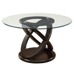 Buy Monarch Specialties Dark Espresso 48x48 Round Tempered Glass Dining Table on sale online