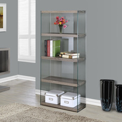 Buy Monarch Specialties Dark Taupe Reclaimed-Look & Tempered Glass 24 Inch Bookcase on sale online