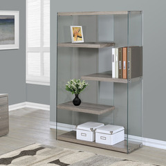 Buy Monarch Specialties Dark Taupe Reclaimed-Look & Tempered Glass 36 Inch Bookcase on sale online