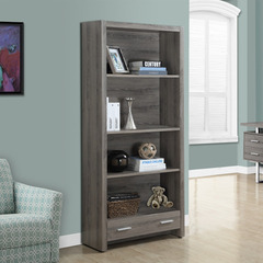 Buy Monarch Specialties Dark Taupe Reclaimed-Look 71 Inch Bookcase w/ Drawer on sale online