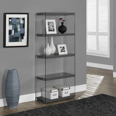 Buy Monarch Specialties Glossy Grey Hollow-Core & Tempered Glass 24 Inch Bookcase on sale online