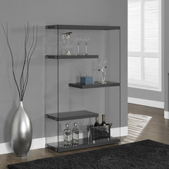 Buy Monarch Specialties Glossy Grey Hollow-Core & Tempered Glass 36 Inch Bookcase on sale online