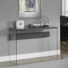 Buy Monarch Specialties Glossy Grey Hollow-Core & Tempered Glass 44x16 Sofa Table on sale online
