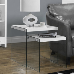 Buy Monarch Specialties Glossy White & Tempered Glass 2 Piece 20x20 Nesting Table Set on sale online