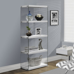 Buy Monarch Specialties Glossy White Hollow-Core & Tempered Glass 24 Inch Bookcase on sale online
