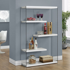 Buy Monarch Specialties Glossy White Hollow-Core & Tempered Glass 36 Inch Bookcase on sale online