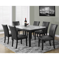 Buy Monarch Specialties Grey Laquered Marble-Look 7 Piece 64x38 Dining Room Set on sale online