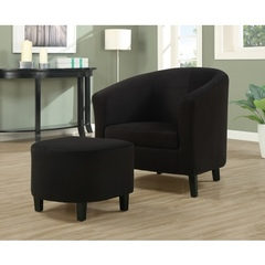 Buy Monarch Specialties 2-Piece Accent Chair Set w/ Ottoman in Black on sale online