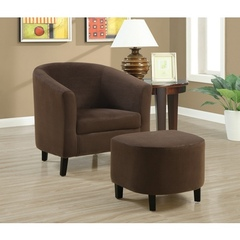 Buy Monarch Specialties 2-Piece Accent Chair Set w/ Ottoman in Chocolate Brown on sale online