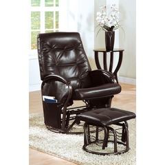 Buy Monarch Specialties 2-Piece Swivel Rocker Recliner Chair Set in Brown w/ Ottoman on sale online