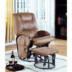 Buy Monarch Specialties 2-Piece Swivel Rocker Recliner Chair Set in Tan w/ Ottoman on sale online