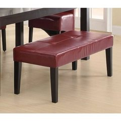 Buy 48 Inch Leather-Look Bench in Burgundy on sale online