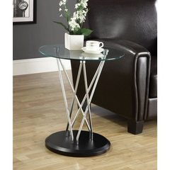 Buy Monarch Specialties 20x20 Accent Table in Chrome w/ Tempered Glass on sale online