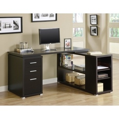 Buy L-Shaped Computer Desk in Cappuccino on sale online