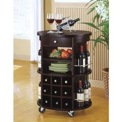 Buy Monarch Specialties Round Bar Serving Cart w/ Wine Storage on sale online