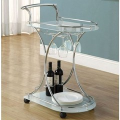 Buy Monarch Specialties 27x16 Tempered Glass Serving Cart w/ Casters and Serving Tray in Chrome on sale online