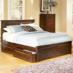 Buy Atlantic Furniture Monterey Bed w/ Raised Panel Footboard in Antique Walnut on sale online