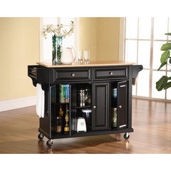 Buy Crosley Furniture 52x18 Natural Wood Top Kitchen Cart/Island in Black on sale online