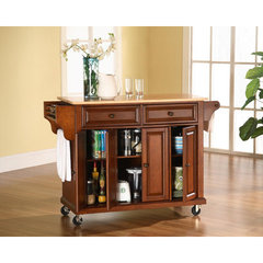 Buy Crosley Furniture 52x18 Natural Wood Top Kitchen Cart/Island in Classic Cherry on sale online