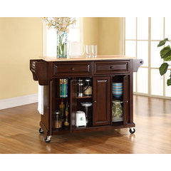Buy Crosley Furniture 52x18 Natural Wood Top Kitchen Cart/Island in Vintage Mahogany on sale online