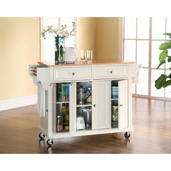 Buy Crosley Furniture 52x18 Natural Wood Top Kitchen Cart/Island in White on sale online