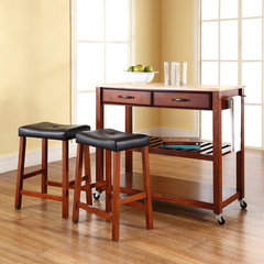 Buy Crosley Furniture 42x18 Natural Wood Top Kitchen Cart/Island w/ 24 Inch Cherry Upholstered Saddle Stools on sale online