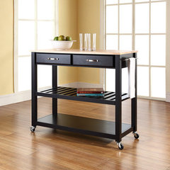Buy Crosley Furniture 42x18 Natural Wood Top Kitchen Cart/Island w/ Optional Stool Storage in Black on sale online