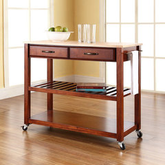 Buy Crosley Furniture 42x18 Natural Wood Top Kitchen Cart/Island w/ Optional Stool Storage in Classic Cherry on sale online