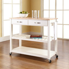 Buy Crosley Furniture Natural Wood Top Kitchen Cart/Island w/ Optional Stool Storage in White on sale online