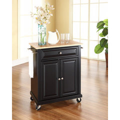 Buy Crosley Furniture 28x18 Natural Wood Top Portable Kitchen Cart/Island in Black on sale online
