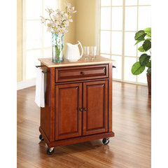 Buy Crosley Furniture Natural Wood Top Portable Kitchen Cart/Island in Classic Cherry on sale online
