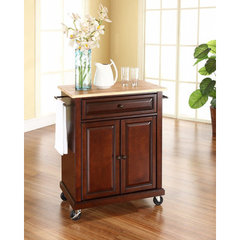 Buy Crosley Furniture 28x18 Natural Wood Top Portable Kitchen Cart/Island in Vintage Mahogany on sale online