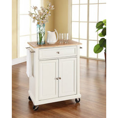 Buy Crosley Furniture Natural Wood Top Portable Kitchen Cart/Island in White on sale online
