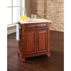 Buy Crosley Furniture Newport 28x18 Natural Wood Top Portable Kitchen Island in Classic Cherry on sale online