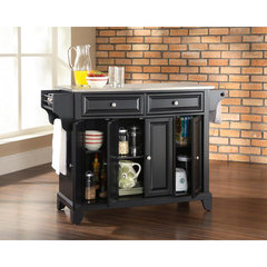 Buy Crosley Furniture Newport Stainless Steel Top Kitchen Island in Black on sale online