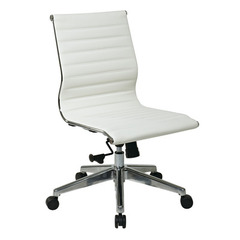 Buy Office Star Armless Mid Back White Eco Leather Chair on sale online