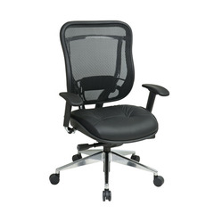 Buy Office Star Executive High Back Chair w/ Mesh Back & Leather Seat - Polished Aluminum Base on sale online