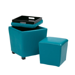Buy Office Star 2 Piece Blue Vinyl Ottoman Set on sale online