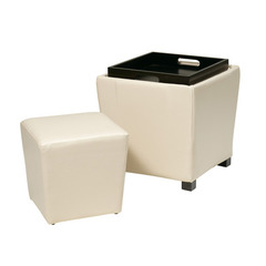 Buy Office Star 2 Piece Cream Eco Leather Ottoman Set in Cream on sale online