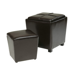 Buy Office Star 2 Piece Espresso Eco Leather Ottoman Set on sale online